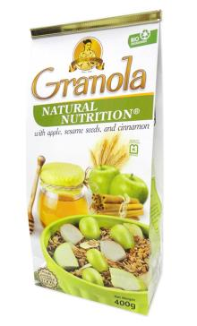 GRANOLA Whole Oats 400g - Sesame, cinnamon and apple.