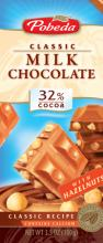 Milk chocolate with haselnuts 32% cocoa ec.