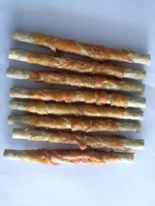 rawhide twined with chicken pet treats