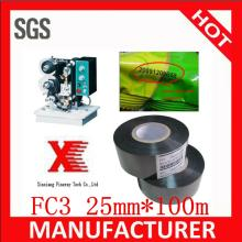 FC3 25mm*100m  hot  stamp ribbon /  Hot  date  stamping  ribbon / hot   stamping   foil  for  plastic  bags