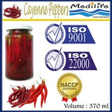 100% Tunisian High Quality Cayenne Peppers, Spicy Cayenne Peppers, 370 mL Glass Jar