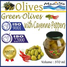 Green Olives with Cayenne Peppers,100% Tunisian Table Olives,Table Olives, 370 ml Jar