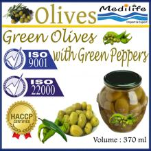 High Quality Tunisian Table Olives,Green Olives with Green Peppers,Table Olives, Jar 370ml