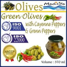Green Olives with Green Peppers & Cayenne Peppers, High Quality 100% Tunisian Table Olives,jar 370ml