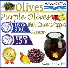 Purple Olives with Cayenne Peppers and Lemon,Purple Table Olives. 370 ml Glass Jar