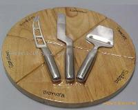 wooden pizza board with cheese knife